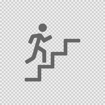 Man on stairs going up vector icon eps 10. Promotion symbol. Simple isolated illustration on transparent background.