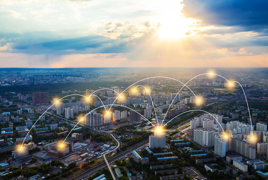 Moscow with network connection concept