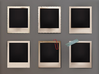 Vector illustration vintage photo frames with shadow
