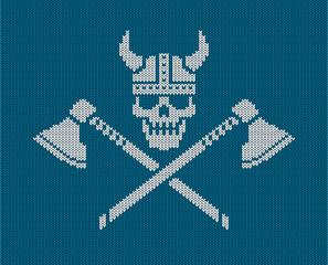 Knitted logo - Viking skull  in a horned helmet and crossed axes. Vector illustration.