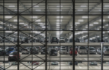 Multi level parking at night