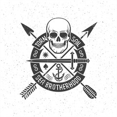Hipster retro logo with a pirate skull, arrows, round banner and anchor. Grunge texture on separate layers and can be easily disabled.