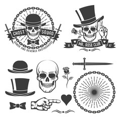 Hipster retro gangster emblem with a skull in an old hat with daggers, rose, chains and ribbons. As well as some vintage design elements. Vector illustration.