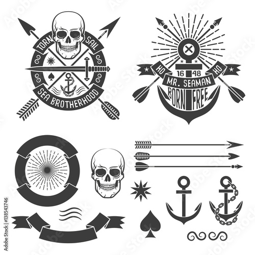 Marine Hipster Tattoo Emblem With Skull Arrows Anchor Ribbon And