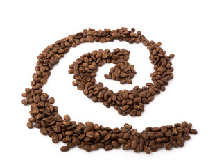 Roasted coffee beans on white background