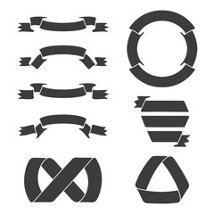 Black ribbon banners, including circular, for logos and emblems in stamp design. Vector illustration.