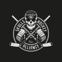 Hockey logo, mascot with  skull in a helmet, circular banner and crossed sticks on a black background. For team or league.  Vector illustration.