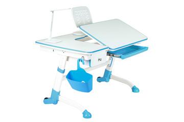 Blue school desk, blue basket and desk lamp