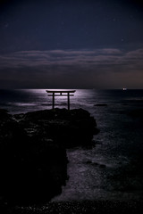 Shrine gate night scene at sea Oarai city, Ibaraki