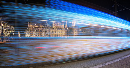 Moving tram in Budapest