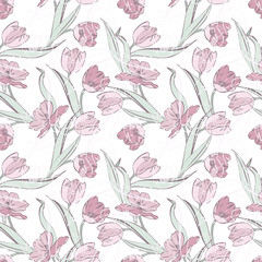 Tulips seamless pattern. Raster background.