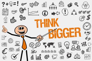 Think Bigger / Mann mit Symbole