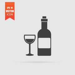 Wine icon in flat style isolated on grey background.