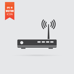 Router icon in flat style isolated on grey background.