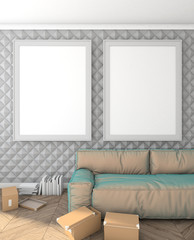 mock up posters on the wall in the modern interior with sofa. loft. 3D render