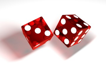 3d image: high quality rendering of transparent red rolling dices with white dots. The cubes in the cast. throws. High resolution. Realistic shadows. on white background