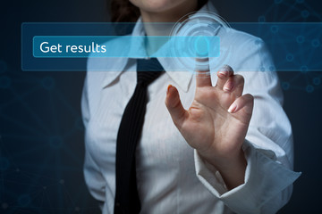 Business, technology, internet and networking concept. Business woman presses a button on the virtual screen: Get results