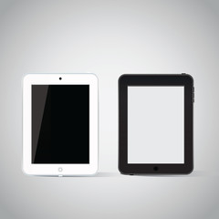 Vector isolated black and white tablet