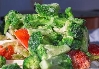 Frozen vegetables close up