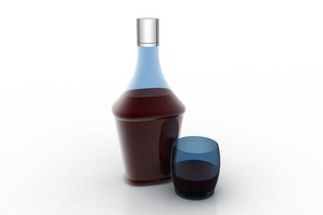 Liquor bottle with glass