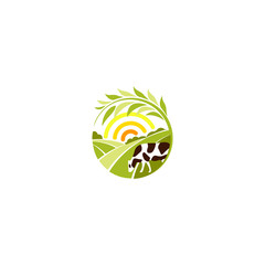 Isolated abstract round shape rural landscape with sun, green meadow and cow logo, organic farming logotype vector illustration.