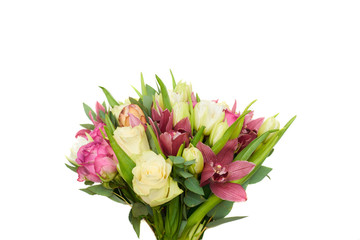 Spring bouquet of tulips and roses