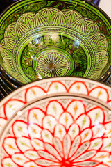 Handmade and painted colorful traditional plates on medina souke