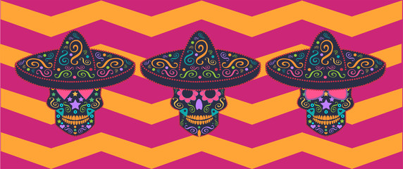 Skull vector with sombreros and zig-zag background