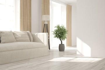 White room with sofa. Scandinavian interior design