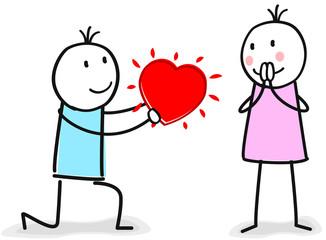 Mann hält um die Hand der Frau an aus liebe