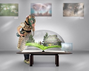 Little girl in a gas mask and dress in the Museum. Museum exhibit open book, house, green trees and grass, people.