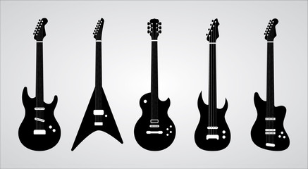 Guitar silhouettes set. Vector ilustration