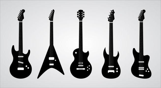 Guitar silhouettes set. Vector ilustration