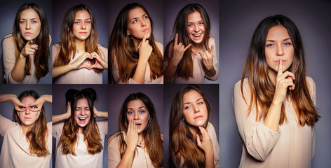 emotions, set, girl, young, many, one, happy