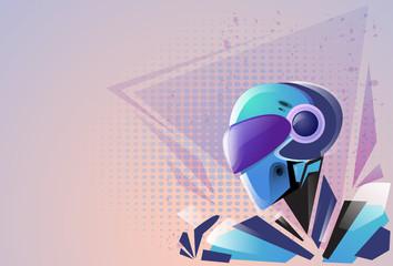 Modern Robot Futuristic Mask Mechanism Technology Vector Illustration