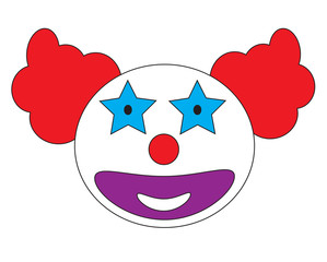 Smiley clown face icon vector isolated in white background.