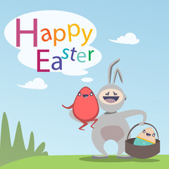 Easter Decorated Rabbit Colorful Egg Holiday Symbols Greeting Card Flat Vector Illustration