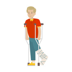 Man with broken leg on white background. leg in plaster. Smiling young boy wih crutches.