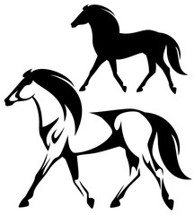 running horse black and white side view vector