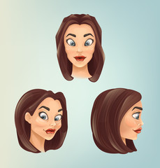Woman character head from different angles. Vector flat cartoon illustration
