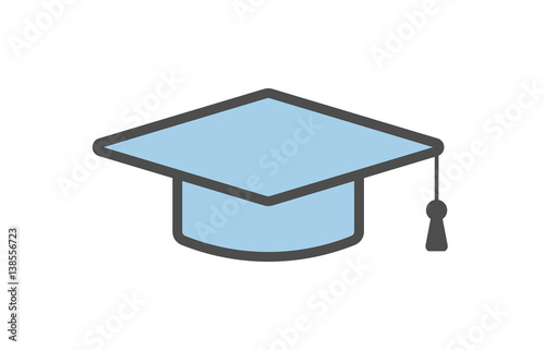 Isolated Graduating Hat Icon On White Background Symbol Of College