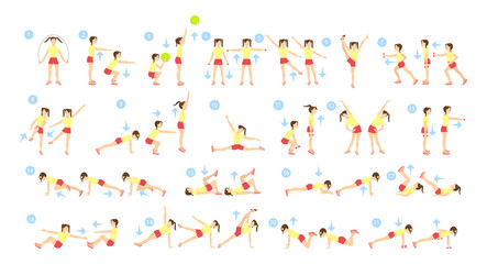 Children workout set on white background. Exercise for small kids.
