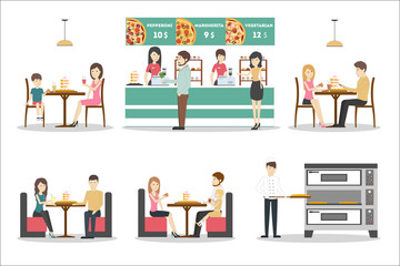 Pizzeria interior set with visitors on white background. People eat pizza and drink milkshakes. Chefs baking new pizza.