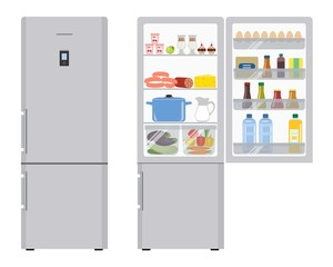 Refrigerator with open doors, a full of food. Vector illustration