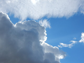 white fluffy clouds in the blue sky. close up