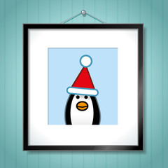 Single Penguin Wearing Santa Hat in Picture Frame