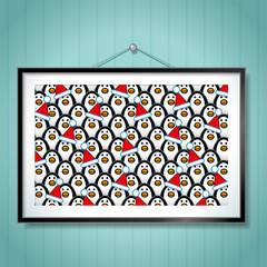 Group Photo of Penguins wearing Santa Hats in Picture Frame
