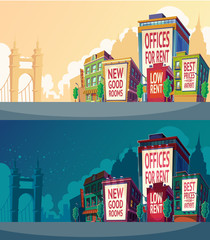 Set vector cartoon illustration of an urban landscape with buildings and a large billboard on the wall.