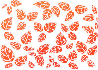 white, red background leaves. leaves cut from paper