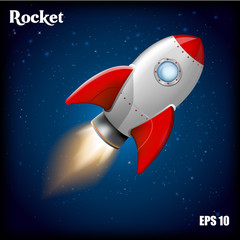 Rocket ship.Vector illustration with 3d flying rocket. Space travel to the moon. Space rocket launch. Project start up and development process. Innovation product,creative idea. Management.